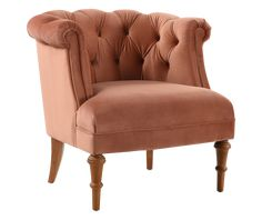 Katherine Tufted Accent Chair, Peach Orange - Jennifer Taylor Home Tufted Accent Chair, Accent Chairs, Jennifer Taylor, Velvet Color, Peach Orange, Chesterfield Chair, Fashion Room, Furniture Making, Living Spaces