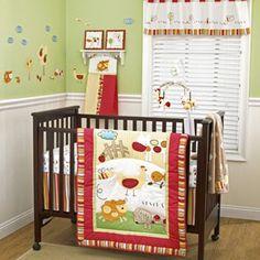 Green Brown Farm Animal Neutral Baby Crib Bedding Set For