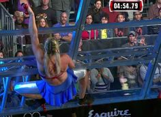 Jesse Graff, stuntswoman, does American Ninja Warrior in a skirt.