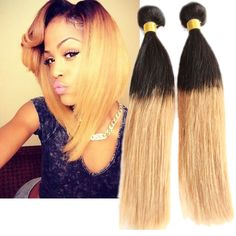 New Fashion 50g/pc Straight Ombre Real Human Hair Extensions 2 Tone Hair Wefts #WIGISShair #STRAIGHT