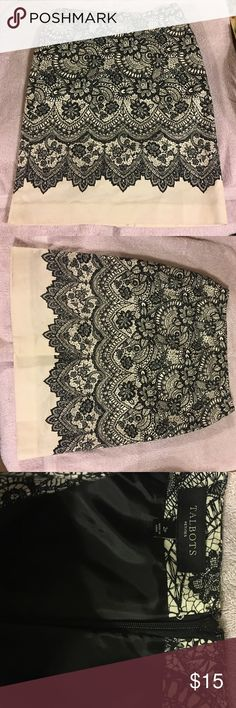 Size 2P Talbots Pencil Skirt, EUC Beautiful black lace printed on light cream Talbots skirt made of thick canvas like material, with a black liner. Talbots Skirts