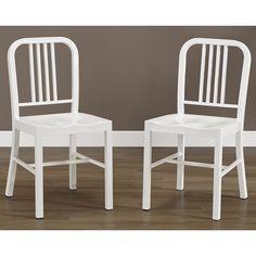 <li>Set includes: Two (2) chairs</li> <li>Materials: Steel</li><li>Finish: White powder coat </li>