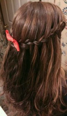Waterfall braid with bow:)