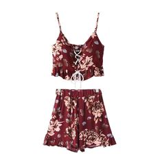 Floral Top & Shorts with Wavy-Edge Detail|Disheefashion (895 THB) ❤ liked on Polyvore featuring dresses, flower print shorts, floral shorts, floral printed shorts and floral print shorts