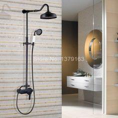 Black Oil Rubbed Brass Single Lever Wall Mount Bathroom Rainfall Shower Faucet Set Mixer tap Rain Shower Head Hand Shower ahg655 #Affiliate