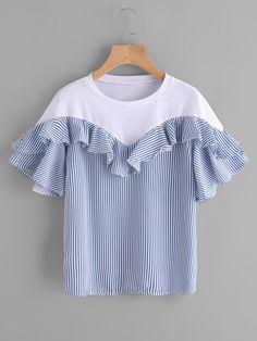 SheIn offers Contrast Panel Frill Trim Striped Blouse & more to fit your fashionable needs. Teen Fashion Outfits, Chic Outfits, Fashion Dresses, Fancy Tops, Frocks For Girls, Baby Girl Dresses, Simple Dresses, Casual Tops, Diy Clothes