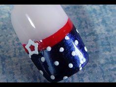 Star and Polka Dots - 4th of July Nail Art