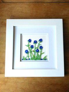 Sea glass art// Blue hydrangea flowers// Sea glass// Cobalt blue// Cornflower blue// NOT a print by RedIslandSeaGlass on Etsy