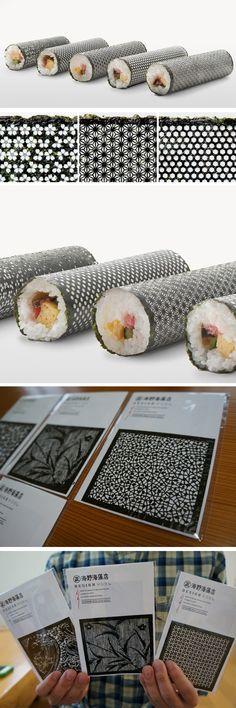sushi seaweed cut with laser Sushi Design, Food Design, Sushi Wrap, Sushi Sauce, Food Concept, Tips & Tricks, Food Science, Love Eat, Bento Box