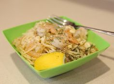Lemon dill shrimp pasta with oven roasted corn