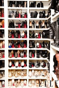 3a3e90a6e2e1 Khloe Kardashian maximizes her shoe closet shelving by placing each pair  with one toe forward and the other toe backward.I need a closet with that  many red ...
