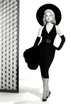 black dress with belt black gloves hat shoes and stole 1960's fashion - martha