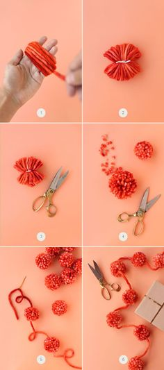 Ahhaa- that's the secret to the Pom Pom garland.take a needle and yarn and string your homemade Pom poms Fun Crafts, Diy And Crafts, Crafts For Kids, Arts And Crafts, Pom Pom Garland, Pom Poms, Diy Projects To Try, Craft Projects, Craft Ideas