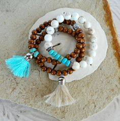 Brown wood bead stretch bracelet with creamy antique white silver tassel, antique silver bead accent ~ stack bracelet ~ trendy ~ modern ~