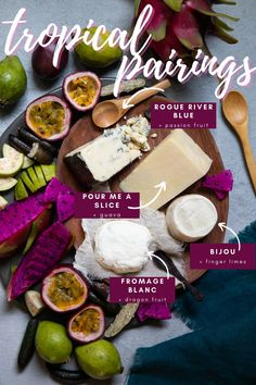Including exotic fruits in your cheese pairings can be palate relief for the dreary days of winter when your tastebuds may have been weighed down by heavy comfort foods. Their bright, lively flavors stand up to strong-flavored cheeses, and balance the richness of creamy types. Take a trip to the tropics with these matchups. Exotic Fruit, Tropical Fruits, Pear Liqueur, Aged Cheese, Cheese Pairings, Comfort Foods, Food And Drink, Strong, Bright