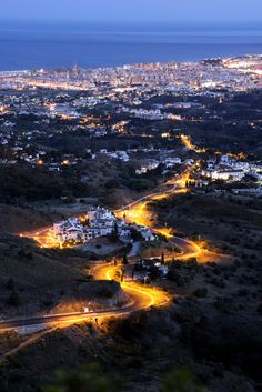Fuengirola at dusk from Mijas, Málaga | Spain :  I have been there!  It is Beautiful.