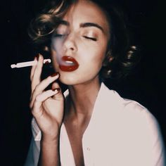 50s, 60s, aesthetic, girl, grunge, lipstick, red lips, smoke, decades