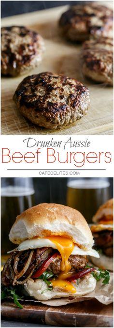 Drunken Aussie Beef Burgers - I Cook Different Burger Bar, Gourmet Burgers, Beef Burgers, Good Burger, Veggie Burgers, Keto Burger, Tacos, Tostadas, Hamburgers Gastronomiques