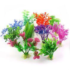 10 Mixed Artificial Aquarium Fish Tank Green Plastic Plant Decoration Ornament | eBay
