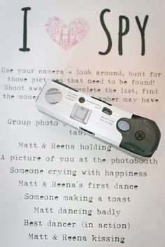 kids table at wedding- an I-spy checklist and disposable camera. #saphireeventgroup #kidstable #ispy #camera