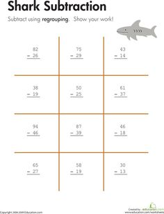 Worksheets: Shark!: Two-Digit Subtraction with Regrouping