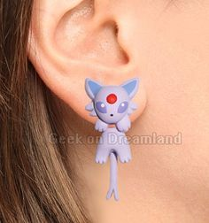 Espeon Pokemon Handmade Clinging  Earrings Polymer Clay