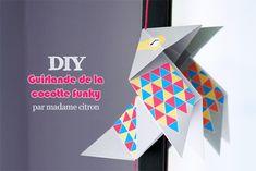 cocotte funky de Madame Citron Mobil Origami, Origami Mobile, Origami Paper, Diy Paper, Paper Crafts, Origami Simple, Useful Origami, Origami Printables, Free Printables