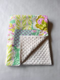 Patchwork Minky Blanket - Would make an awesome baby shower gift