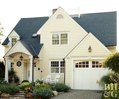 Getting ready to paint your home's exterior? Find our favorite exterior color schemes and tips for picking house paint colors. This appealing array of homes combine paint colors in charmingly impactful ways. Yellow House Exterior, Exterior Paint Colors For House, Paint Colors For Home, Cottage Exterior, Paint Colours, Exterior Color Combinations, Exterior Color Schemes, Interior Exterior, Exterior Design