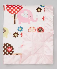 Take+a+look+at+the+My+Blankee+Luxe+Pink+Tree+&+Elephant+Stroller+Blanket+on+#zulily+today!