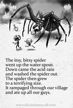 in my series of Apocalyptic Nursery Rhymes: The Itsy, Bitsy Spider. Creepy Nursery Rhymes, Creepy Poems, Dark Meaning, Dark Nursery, Morbid Humor, Dark Jokes, Bitsy Spider, Pomes, Creepy Facts