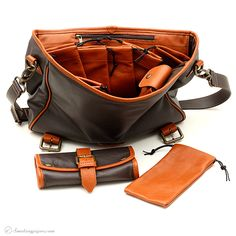 Pipe Accessories Claudio Albieri Briefcase with Pouch Chocolate/Acorn Italian Leather Accessories at Smoking Pipes .com