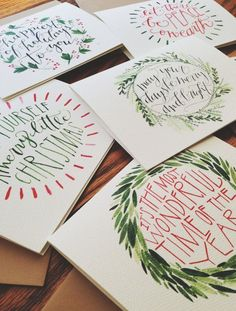 Christmas Cards HandLettered and Painted Set of 10 by joliemade: