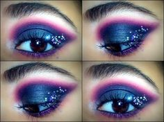 Glitter eyes purple and pink makeup