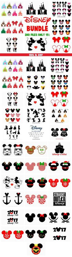 Disney Svg Bundle , Mickey Minnie svg cut files, svg dxf for Silhouette Cameo and Cricut