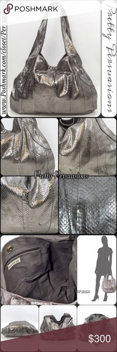 Beirn Distressed Faux Snake Skin Leather Hobo Bag BRAND SPOTLIGHT by Pretty Persuasions  • Brand Spotlight features a handpicked item by one of our staff's personal wardrobe! Always on trend & ready for a new home!  Beirn Metallic Gunmetal Distressed Faux Water Snake Skin Leather Hobo Bag  SOLD OUT EVERYWHERE  Condition: Excellent- shows minimal signs of wear; is clean; stain free; no defects/damages.    Measurements available upon request   Bundle discounts available No pp or trades  Item…