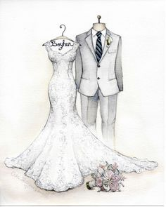 Boyhen wedding dress and tux water color painting with pencil Wedding Dress Drawings, Wedding Dress Illustrations, Wedding Illustration, Illustration Mode, Wedding Dress Cake, Wedding Dress Styles, Designer Wedding Dresses, Fashion Drawing Dresses, Fashion Sketches