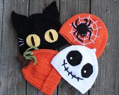 Crochet Hats Halloween Hats My mother was grazed ўsyago - Soon, soon Halloween links to other sites for various Halloween Ideas - Красота крючком Bonnet Crochet, Crochet Baby Hats, Crochet Beanie, Cute Crochet, Crochet For Kids, Crochet Crafts, Yarn Crafts, Knitted Hats, Knit Crochet