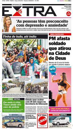 23-03-2013 - Capas do Jornal Extra - Primeira página do Jornal Extra do Rio - Extra Online