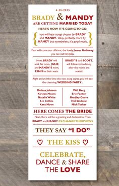 Printable DIY Wedding Program  Casual & Fun by DewDropDesignco, $35.00