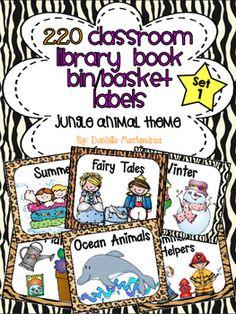 220 Classroom Library Book Bin / Basket Labels {Jungle Ani