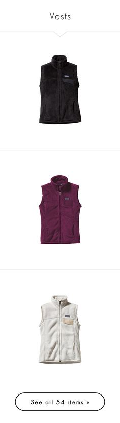 """""""Vests"""" by ctrygrl1999 ❤ liked on Polyvore featuring outerwear, vests, black, vest waistcoat, zip vest, zipper vest, thermal vests, fuzzy vest, red waistcoat and patagonia"""
