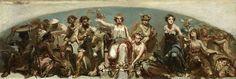 Rochussen, De koloniën brengen hulde aan de Nederlandse Maagd, RM, Herinnering aan het Rembrandtfeest, 27 mei 1852. Studie voor het boogveld hoog in de Parkzaal tijdens de Rembrandttentoonstelling in 1852.