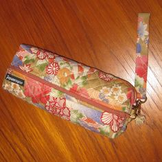 Japanese Peonies and Fans Design Cosmetic or Art Supplies Zippered Quilted Pouch with Wrist Strap by JapanesqueAccents on Etsy