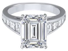 Large Emerald Cut Diamond Engagement Ring with Trapezoid Cut Diamonds - ES231EC