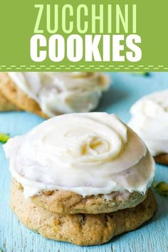 Zucchini Cookies with Cream Cheese Frosting. These soft, fluffy cookies are loaded up with zucchini, but taste so good you wouldn't know it! Baked with a bit of spice and topped with a cream cheese frosting swirl. Zucchini Cookie Recipes, Zuchinni Cookies, Zucchini Desserts, Zucchini Bread Recipes, Healthy Dessert Recipes, Delicious Desserts, Biscuits Au Caramel, Cream Cheese Cookies, Homemade Chocolate