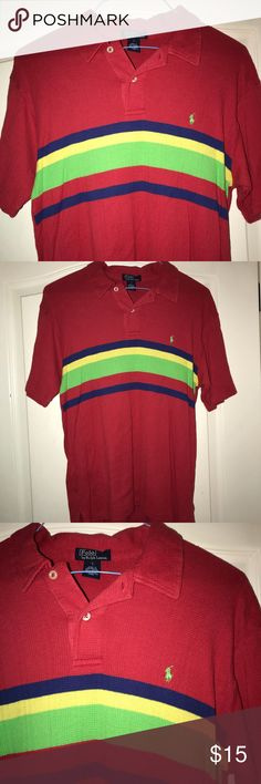 Ralph Lauren Polo Size Large 16/18 Polo Ralph Lauren Big Boys shirt. Red with stripes.  100% Cotton EUC Polo by Ralph Lauren Shirts & Tops Polos