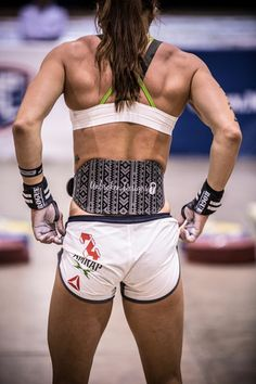 Black Tribal Print Weight Lifting Belt on CrossFit Athlete Andrea Ager by Unbroken Designs