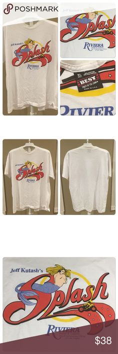 VTG 80s SPLASH LAS VEGAS RIVIERA HOTEL CASINO TEE VINTAGE 1985 SPLASH SHOW LAS VEGAS RIVIERA HOTEL CASINO. Printed on a BEST fruit of the loom brand 50-50 poly cotton T-shirt. No holes stains rips tears no fading of graphics Paper thin amazing graphics !!! Vintage Shirts Tees - Short Sleeve