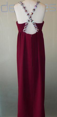 James Galanos - I.Magnin - Robe de Soirée 'Dos Croisé' - Crêpe de Soie et Cristal de Swarovski - Milieu des Années 60